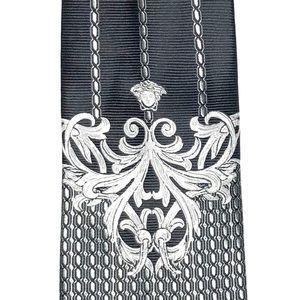 Versace Vintage Jacquard Medusa Logo Silk Tie